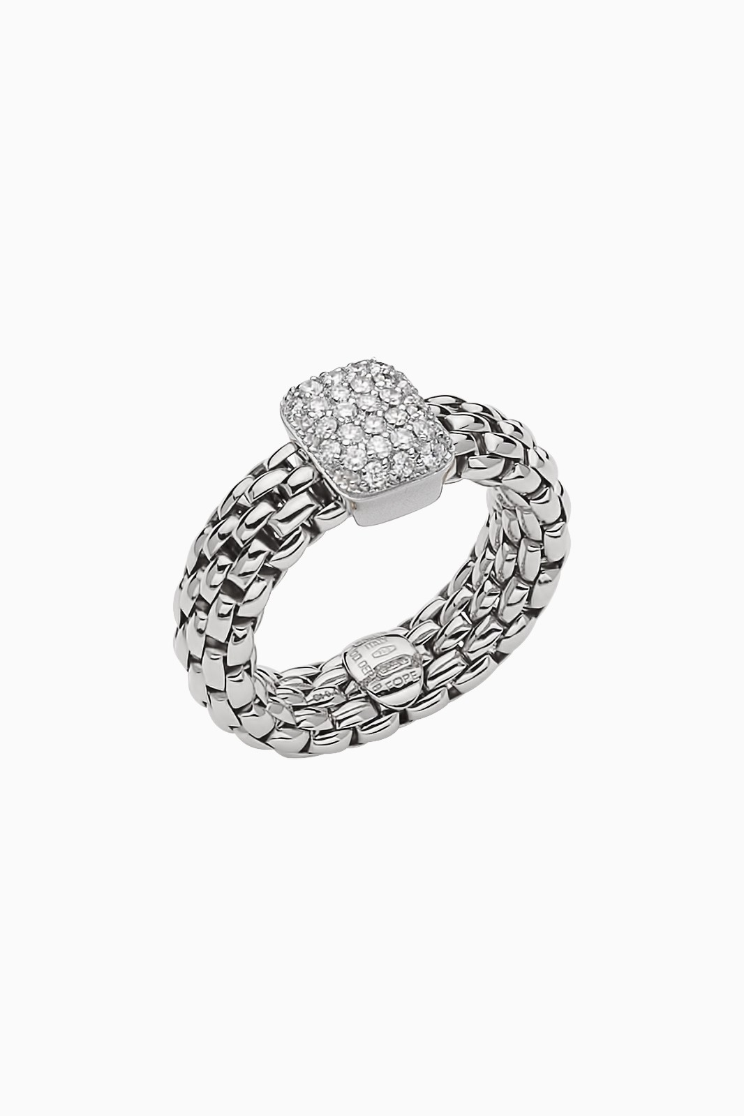 Flexible Ring With Diamond Pave Fope