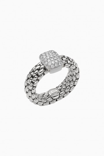 Flexible ring with diamond pavé